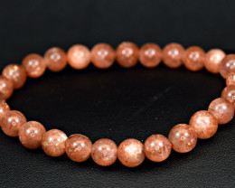 Natural lustrous Red 7.2mm Sunstone 26 Pis beads Bracelet (NR)