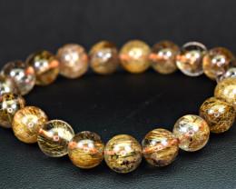 Natural 11mm Brown & Golden shiny Rutilated Quartz 19 Pis beads Bracelet