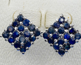56.02 cts Natural Blue Sapphire and 925 Silver Earring, Elegant Design