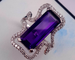 Natural Amethyst Ring with CZ.