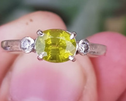 Natural Peridot And CZ Ring.