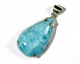 Excellent Natural Sky Blue Larimar .925 Sterling Silver Pendant 1.8inch
