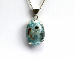 Unique Natural Green Blue Red Larimar .925 Sterling Silver Pendant 38mm