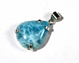 Exquisite Natural Sky Blue Larimar .925 Sterling Silver Pendant 1.4inch