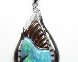 Australian Boulder Opal Rhodium Plated Silver and CZ Pendant