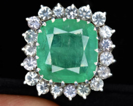 CERTIFIED  9.87 Carat Natural Emerald and white sapphire Ring.