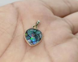 Pendant silver 950 mosaic glass heart shape