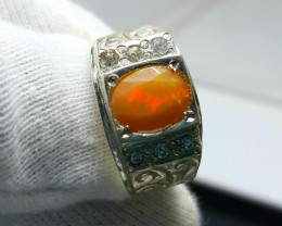 36.00 Carats Multifire Opal with Cz 925 Silver Ring, Ring Size 10.5.