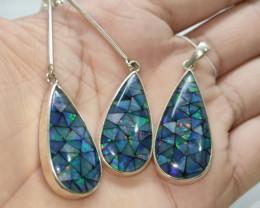 Silver earring 950 -mosaico drop shape