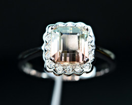 huge size Transparent bi colort Clean Tourmaline ,CZ 925 Silver Ring