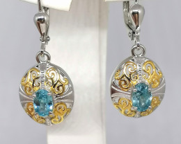 Ratanakiri Blue Zircon Earrings 1.25 TCW