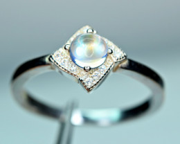 Natural very Top Round Rainbow Moonstone Cabochon ,CZ 925 Silver Ring