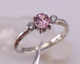 Natural Pink Tajik Spinel and CZ Ring