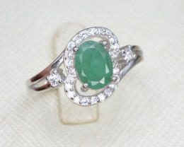 Natural Emerald 15.35 Cts CZ and Silver Ring