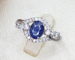 Natural Sapphire 15.56 Cts CZ and Silver Ring