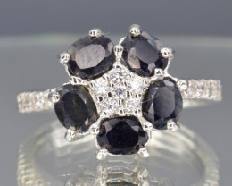 Heated Natural Dark Sapphire, CZ and 925 Silver Ring