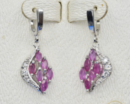 Natural Ruby, CZ and 925 Silver Earring