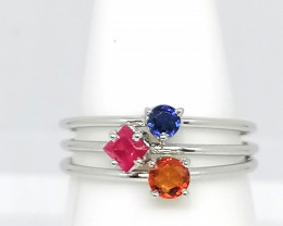 Sapphire and Ruby Stacker Ring Set 0.62 TCW