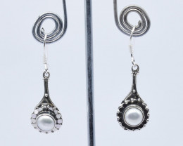 PEARL EARRINGS 925 STERLING SILVER NATURAL GEMSTONE JE92