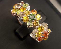 Natural rainbow  sapphire Ring.