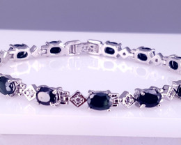 Natural Sapphire with CZ Bracelet.