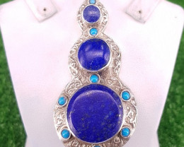 161.30 CTS  Natural Lapis lazuli Pendant in Metal