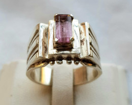43.10 Natural Pinkish Tourmaline In  Handmade Silver Ring.