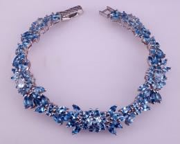 Natural Swiss Blue Topaz Bracelet.