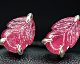 Natural Nice Carved Tourmaline 925 Silver earings