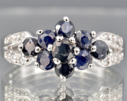 Natural Blue Sapphire, CZ and 925 Silver Ring