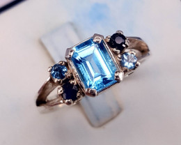 Natural Topaz with small sapphire Ring