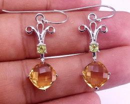 Natural Citrine and peridot Earring.