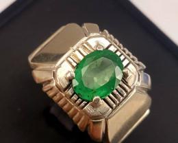 2.20carat Natural Emerald Gents Ring.