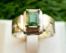 30ct Natural Greenish Color Tourmaline in 18k Silver Handmade Ring.