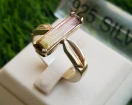 29ct Natural Pinkish Tourmaline In 18k Handmade Silver Ring.