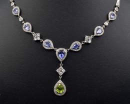 Natural Tanzanite , Natural Peridot , CZ and 925 Silver Necklaces