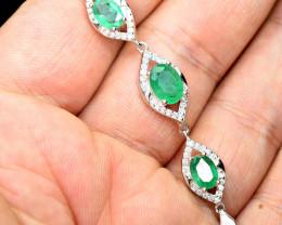 transparent Precious top 3pis 2.63Carat Emerald ,CZ 925 Silver Bracelet