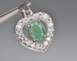 Natural Emerald 14.68 Cts CZ and Silver Pendant