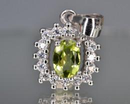 Natural Green Peridot 15.80 Cts CZ and  Silver Pendant