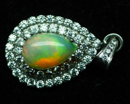 NATURAL  OPAL PENDENT 92.5 SOLID SILVER STERLING PENDENT