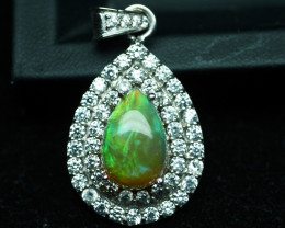 NATURAL ETHIOPIAN OPAL PENDENT 92.5 SOLID SILVER STERLING PENDENT