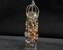 Vintage waziri silver earring with mix stones from Pakistan