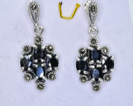 37.20 Crt Natural  Sapphire 925 Sterling Silver Earrings
