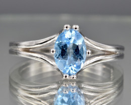 Natural Topaz, CZ and 925 Silver Ring