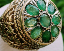125ct Amazing Natural Zambian Emeralds in Sterling Silver Handmade Ring