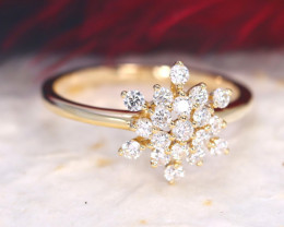 Snowflake Design Natural Diamond D VVS 9K Yellow Gold Ring