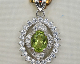 Natural Peridot Pakistan , CZ and 925 Silver Pendant