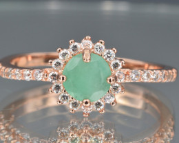 Natural Emerald , CZ and 925 Silver Ring