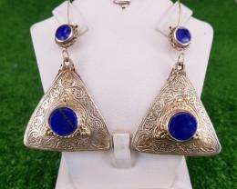 Beautiful Natural Lapis Lazuli Earrings in Metal