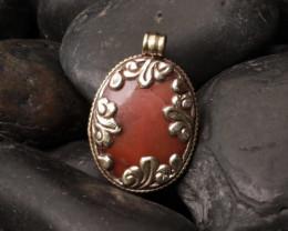 Tibet Pendant, Orange agate, Silver, handmade